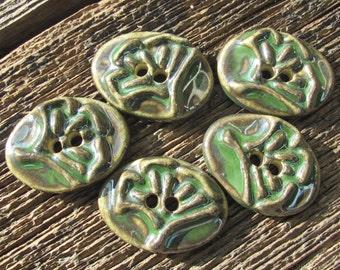 Ginkgo Leaf Button, Ceramic Ginkgo Leaf, Leaf Button, Ceramic Buttons, Green Buttons, Clay Buttons, Clay Leaf Buttons, Handmade Buttons