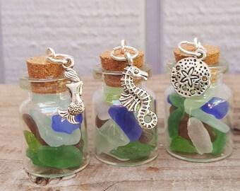 3 each Santa Barbara Sea Glass in a bottle - seahorse, mermaid, sand dollar