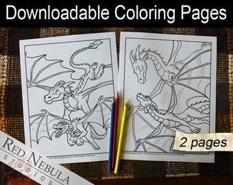 Coloring Pages 22-23 - Shella the Dragon, Young Adult Coloring Page, Fantasy Coloring Book Pages, Flying with Mother, Mom, Learning to Fly