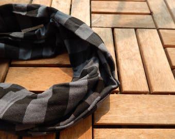 Black and Gray Buffalo Plaid Infinity Scarf/ Buffalo Plaid Infinity Scarf
