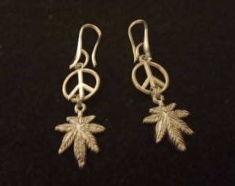 Peace Symbol And Leaf Earrings