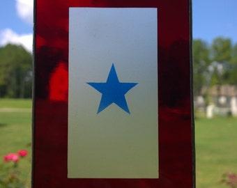 BLUE STAR stained glass suncatcher Christmas ornament