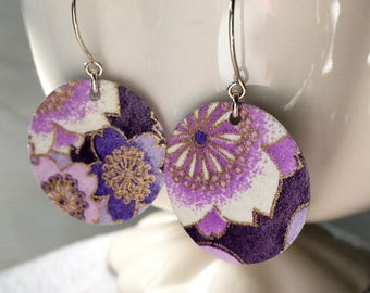 Mixed Purple Origami Small Earrings