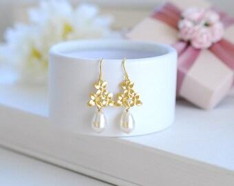 Gold Lilac Flower Swarovski Cream White Teardrop Pearl Dangle Earrings, Gold Earrings, Bridal Earrings, Wedding Jewelry, Bridesmaid Earrings