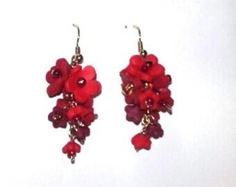 Crimson Cascade Earrings