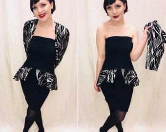 Vintage Party Dress, soze 10/12 80s Glam Dress, LBD, little black dress, Mini Dress, peplum dress.