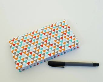 Checkbook / multicolored geometrical fabric check book