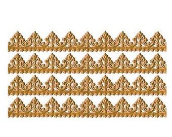 Dresden Trims Germany 4 Rows Fancy Antique Gold Paper Lace Trim Edging DFW217AG