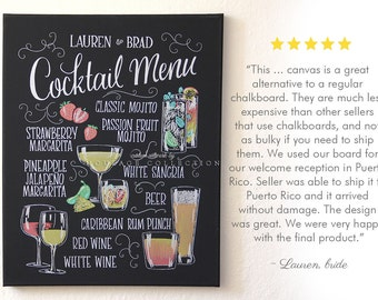 """Cocktail Menu drawing, 16"""" x 20"""" canvas, chalkboard art inspired, custom drawing by hand"""