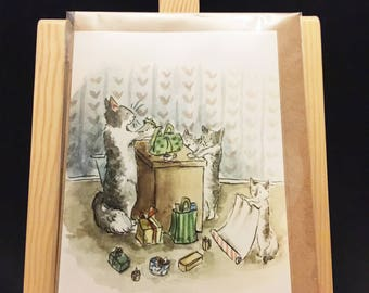 Cats kittens family presents Watercolor Card