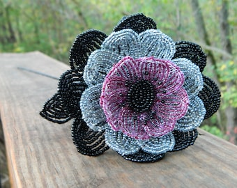 Black, Gray, and Purple French Beaded Flower