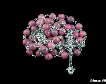 Catholic Rosary Beads Pink Rhodonite Silver Natural Stone Traditional Five Decade