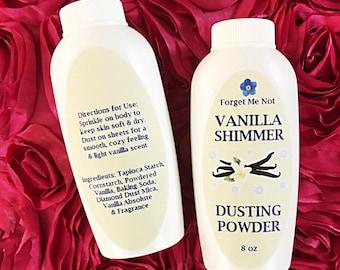 Vanilla Shimmer Body Powder/Talc Free/Natural Powder/Vanilla Powder/Body Powder/Foot Powder/Intimate Powder/Natural Dusting Powder