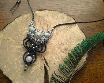Macrame necklace Black Silver Pearl Moon quartz pink macrame necklace silver rose quartz moon stone bead