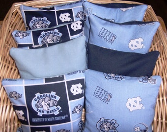 Corn hole Bags 8 pc set Our  Double Tarheels game bags.