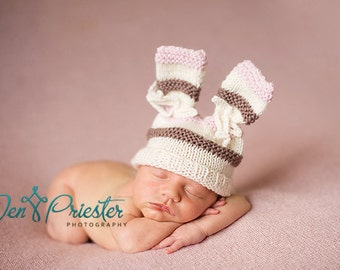 Hand knit baby hat newborn photo prop bunny ears rabbit hat with bows cream pink brown stripes girl pure australian merino photography prop