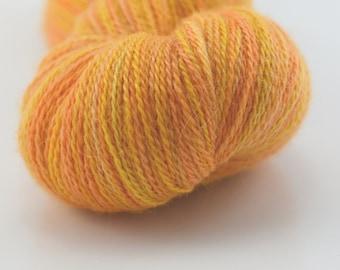 Baby alpaca lace weight yarn knitting crochet weaving hand dyed yellow orange mix 12188