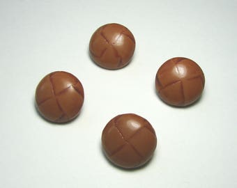 Set of 4 faux leather, round buttons, 20.5 mm at placket, yellow ochre, synthetic.