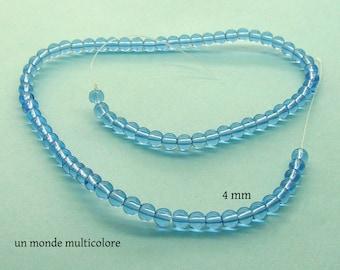 30 round 4 mm transparent blue glass beads