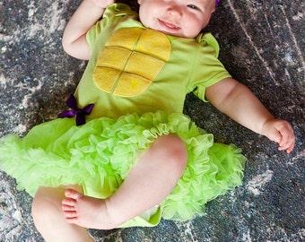 Ninja Turtle Lime grün Pettiskirt Kleid mit Stirnband Neugeborenen bis 18 Monate - Halloween-Outfit - Baby-Halloween-Outfit