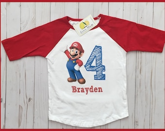 Super Mario Birthday shirt with name and number digit  red raglan sleeve