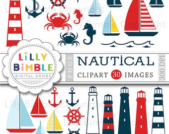 Nautical clipart sailing boats, lighthouses, crab, boats, seahorse, anchors, wheel  Instant Download
