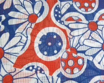 Vintage 1970's Flower Power Fabric*Semi Sheer Fabric, Red White and Blue Flowers*2 Yards*Retro Apparel Fabric*Abstract Blocks*Patriotic*OOP