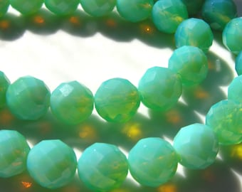 Peruvian Blue Opal GLASS 12mm Faceted Round Beads  8 Beads