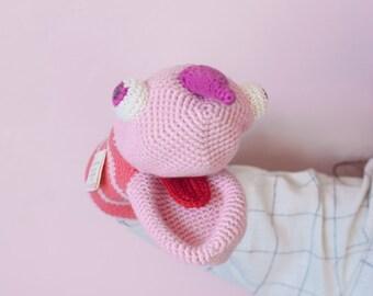Pink monster crochet hand puppet