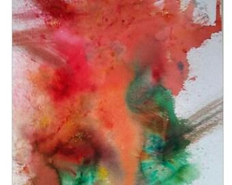 Aquarelle originale imprimer éruption abstrait couleurs vives Wall art, Decor maison bureau