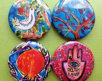 Love and Peace Jewish Magnets, Jewish symbols, Jewish Art, Jewish Gifts, Judaica Art, Fridge Magnets, Jewish Holiday, Peace Dove, Hamsa Hand