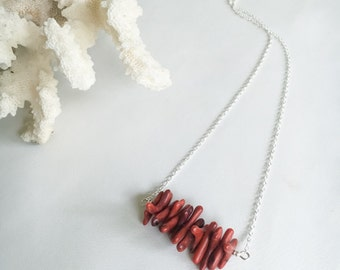 Red Coral Bar Necklace, Sterling Silver
