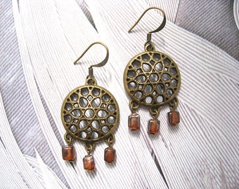 Morocco At Sunset earrings - antiqued brass finished metal and burnt red orange glass cube bead earrings