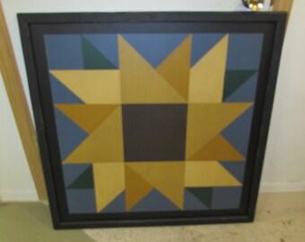 PRiMiTiVe Hand-Painted Barn Quilt - 3' x 3' Sunflower Pattern