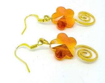 Orange flower earrings, orange jewelry, autumn earrings, Tangerine Earrings, tangerine orange jewelry, orange flower jewelry
