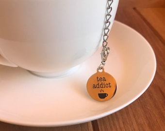 Tea Addict tea infuser stainless steel mesh ball with removable tea quote laser engraved charm tea gift