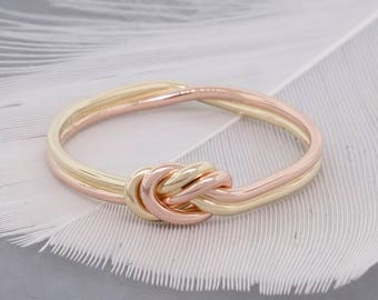 Gold Nautical Knot Ring 18 Gauge - Promise Ring for Her - Celtic Knot Ring - Infinity Ring - Eternity Ring - Bohemian Ring - Dainty Ring