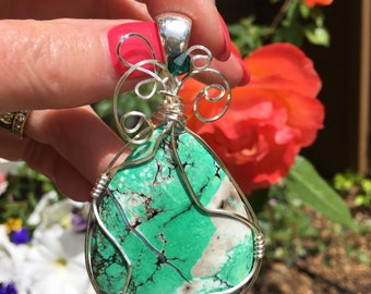 Green turquoise wire wrapped pendant