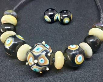 Set beads lampwork. Lampwork  beads . Handmade Artisan  Lampwork Set Beads Glass Lampworked  Glass  Beads Beads lampwork  for jewelry making