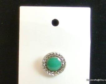 Green Silver Shank Buttons Vintage Buttons Set of 4 Buttons Size 15mm Buttons Green Silver Plastic Buttons JHB Int Buttons