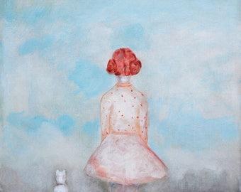 "Little girls wall art/ red head girl portrait bedroom nursery art/ girl with dog art print/ daughter girls room decor ""Spring"""