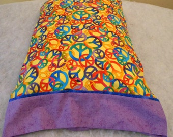 Pillowcase Peace Signs on Yellow Standard Size