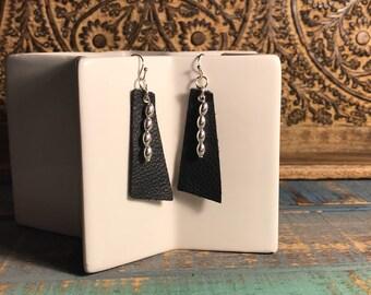 Women's Genuine Leather Rectangular, Oblong, Light Weight,handmade, Black, Beading