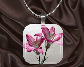 Pink Lily Glass Tile Pendant with chain(CusFl22.2)
