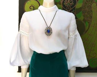 60s MOD Vintage Mutton sleeve lace trim blouse
