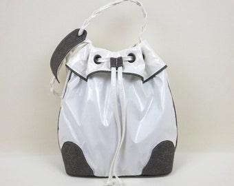 White & Grey Bucket Bag, White Handbag, Hobo Handbag, Frill Bucket Bag, Gift for Her, Sporty-Chic Handbag, Shoulder Bag, Bag, MyNewHandbag