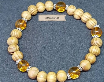 Wood and citrine beaded bracelet