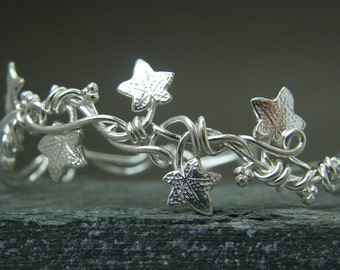 Leaf bangle ~ Sterling silver adjustable leaf bracelet~  Leaf bracelet ~ Nature inspired bangle ~ Ivy leaf bracelet ~ Sterling silver bangle