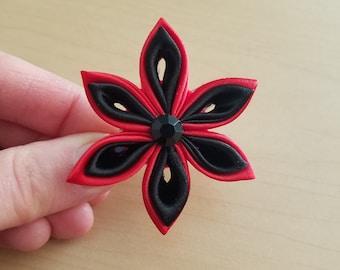 Red & Black Tsumami Kanzashi Hair Clip