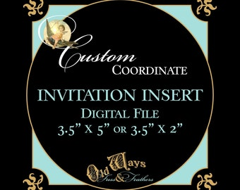 "Invitation Insert - Coordinating or Matching Custom DIY Printable - 3.5"" x 5"" or 3.5"" x 2"" Digital PDF File"